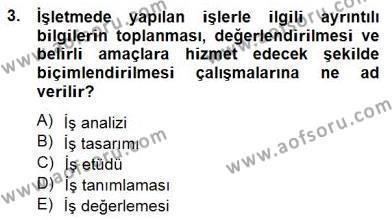 Örgütlerde İnsan Kaynakları Yönetimi Dersi 2014 - 2015 Yılı Dönem Sonu Sınavı 3. Soru