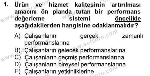 İnsan Kaynakları Yönetimi Bölümü 4. Yarıyıl Performans Yönetimi Dersi 2013 Yılı Bahar Dönemi Dönem Sonu Sınavı 1. Soru