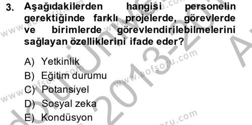 Performans Yönetimi Dersi 2013 - 2014 Yılı Ara Sınavı 3. Soru