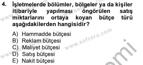 Performans Yönetimi Dersi 2013 - 2014 Yılı (Final) Dönem Sonu Sınav Soruları 4. Soru