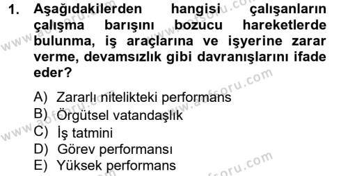 Performans Yönetimi Dersi 2013 - 2014 Yılı Tek Ders Sınav Soruları 1. Soru
