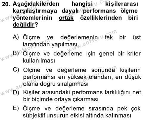 Performans Yönetimi Dersi Ara Sınavı Deneme Sınav Soruları 20. Soru
