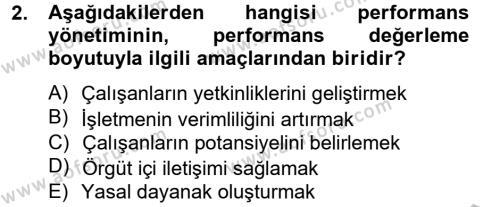 Performans Yönetimi Dersi 2014 - 2015 Yılı (Final) Dönem Sonu Sınav Soruları 2. Soru
