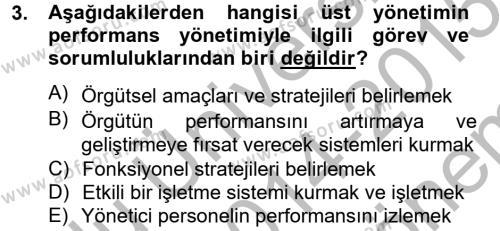 Performans Yönetimi Dersi 2014 - 2015 Yılı (Final) Dönem Sonu Sınav Soruları 3. Soru