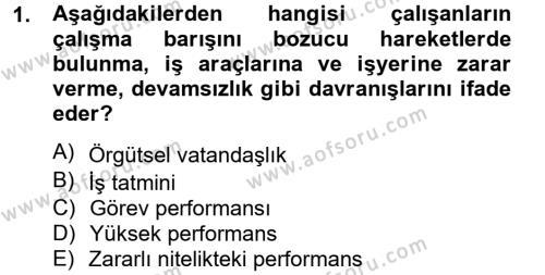 Performans Yönetimi Dersi 2014 - 2015 Yılı Tek Ders Sınav Soruları 1. Soru