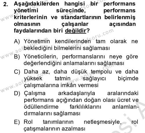 Performans Yönetimi Dersi 2014 - 2015 Yılı Tek Ders Sınav Soruları 2. Soru