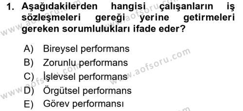 Performans Yönetimi Dersi 2015 - 2016 Yılı Ara Sınavı 1. Soru
