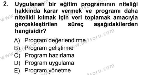 İnsan Kaynakları Yönetimi Bölümü 3. Yarıyıl İşletmelerde Eğitim ve Geliştirme Dersi 2013 Yılı Güz Dönemi Ara Sınavı 2. Soru