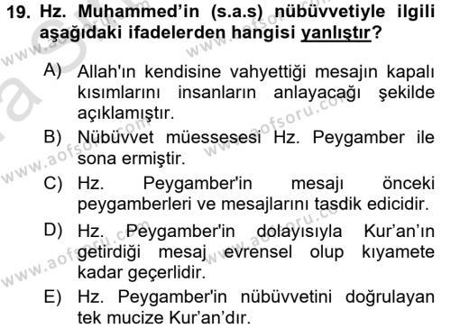 İslam İnanç Esasları Dersi Ara Sınavı Deneme Sınav Soruları 19. Soru