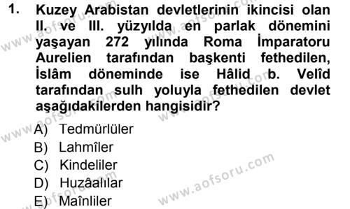 İlahiyat Bölümü 1. Yarıyıl İlk Dönem İslam Tarihi Dersi 2013 Yılı Güz Dönemi Dönem Sonu Sınavı 1. Soru