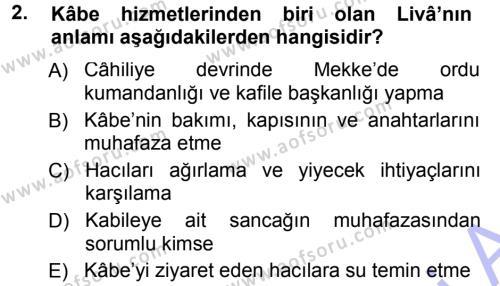 İlahiyat Bölümü 1. Yarıyıl İlk Dönem İslam Tarihi Dersi 2013 Yılı Güz Dönemi Dönem Sonu Sınavı 2. Soru