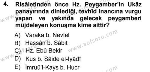 İlahiyat Bölümü 1. Yarıyıl İlk Dönem İslam Tarihi Dersi 2013 Yılı Güz Dönemi Dönem Sonu Sınavı 4. Soru