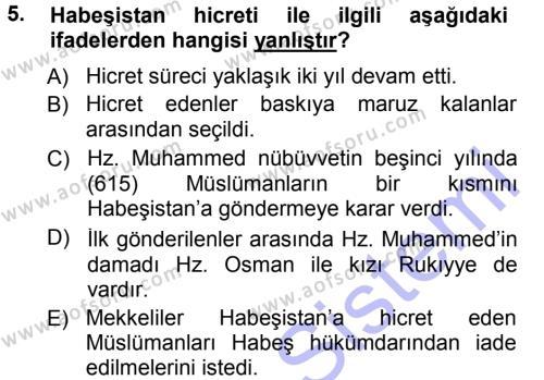 İlahiyat Bölümü 1. Yarıyıl İlk Dönem İslam Tarihi Dersi 2013 Yılı Güz Dönemi Dönem Sonu Sınavı 5. Soru