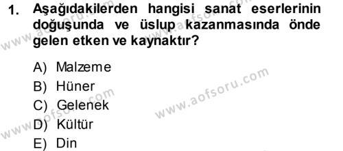 İlahiyat Bölümü 1. Yarıyıl İslam Sanatları Tarihi Dersi 2014 Yılı Güz Dönemi Ara Sınavı 1. Soru