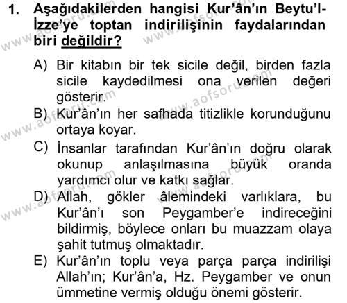 İlahiyat Bölümü 2. Yarıyıl Tefsir Tarihi ve Usulü Dersi 2014 Yılı Bahar Dönemi Tek Ders Sınavı 1. Soru