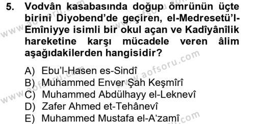 İlahiyat Bölümü 2. Yarıyıl Hadis Tarihi ve Usulü Dersi 2013 Yılı Bahar Dönemi Dönem Sonu Sınavı 5. Soru