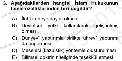 İslam Hukukuna Giriş Dersi Ara Sınavı Deneme Sınav Soruları 3. Soru