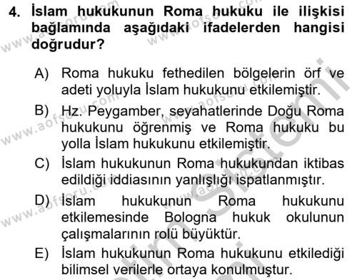 İslam Hukukuna Giriş Dersi Ara Sınavı Deneme Sınav Soruları 4. Soru