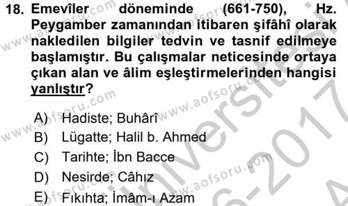 İslam Kurumları ve Medeniyeti Dersi Ara Sınavı Deneme Sınav Soruları 18. Soru