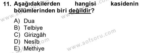 Türk İslam Edebiyatı Dersi Ara Sınavı Deneme Sınav Soruları 11. Soru