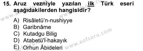 Türk İslam Edebiyatı Dersi Ara Sınavı Deneme Sınav Soruları 15. Soru