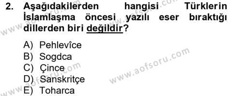 İlahiyat Bölümü 2. Yarıyıl Türk İslam Edebiyatı Dersi 2014 Yılı Bahar Dönemi Ara Sınavı 2. Soru