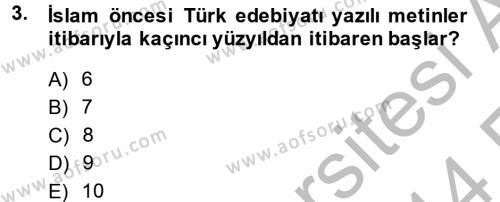 Türk İslam Edebiyatı Dersi Ara Sınavı Deneme Sınav Soruları 3. Soru