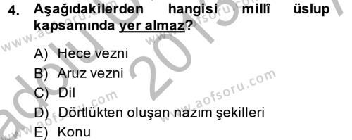 İlahiyat Bölümü 2. Yarıyıl Türk İslam Edebiyatı Dersi 2014 Yılı Bahar Dönemi Ara Sınavı 4. Soru