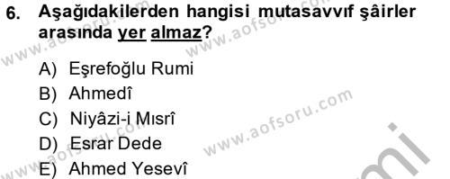 Türk İslam Edebiyatı Dersi Ara Sınavı Deneme Sınav Soruları 6. Soru