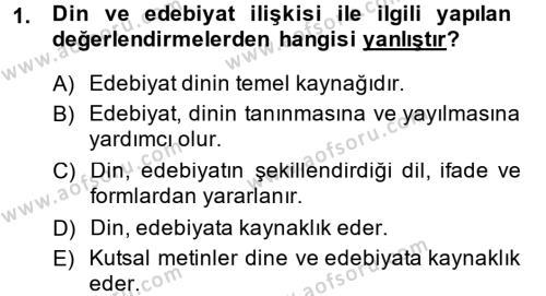 Türk İslam Edebiyatı Dersi Ara Sınavı Deneme Sınav Soruları 1. Soru