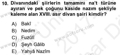Türk İslam Edebiyatı Dersi Ara Sınavı Deneme Sınav Soruları 10. Soru