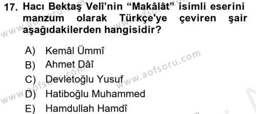 Türk İslam Edebiyatı Dersi Ara Sınavı Deneme Sınav Soruları 17. Soru