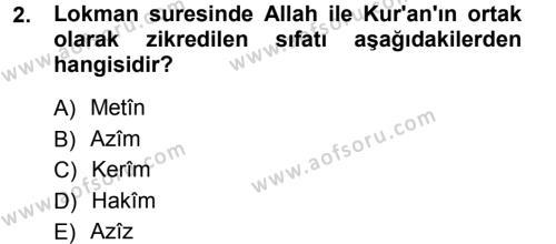 İlahiyat Bölümü 3. Yarıyıl Tefsir Dersi 2013 Yılı Güz Dönemi Ara Sınavı 2. Soru