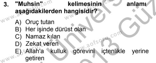 İlahiyat Bölümü 3. Yarıyıl Tefsir Dersi 2013 Yılı Güz Dönemi Ara Sınavı 3. Soru