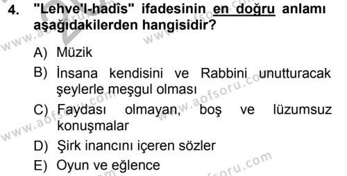 İlahiyat Bölümü 3. Yarıyıl Tefsir Dersi 2013 Yılı Güz Dönemi Ara Sınavı 4. Soru