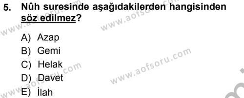 İlahiyat Bölümü 3. Yarıyıl Tefsir Dersi 2013 Yılı Güz Dönemi Ara Sınavı 5. Soru