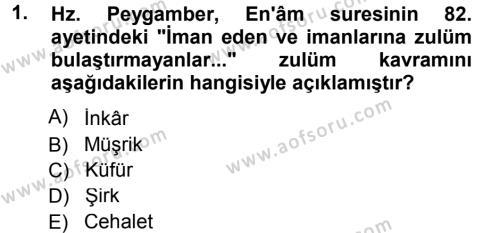 Tefsir Dersi 2012 - 2013 Yılı Dönem Sonu Sınavı 1. Soru