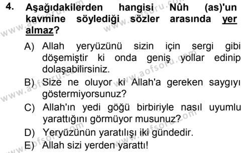 Tefsir Dersi 2012 - 2013 Yılı Dönem Sonu Sınavı 4. Soru