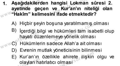 İlahiyat Bölümü 3. Yarıyıl Tefsir Dersi 2014 Yılı Güz Dönemi Ara Sınavı 1. Soru