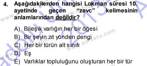 İlahiyat Bölümü 3. Yarıyıl Tefsir Dersi 2014 Yılı Güz Dönemi Ara Sınavı 4. Soru