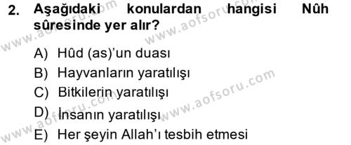 Tefsir Dersi 2013 - 2014 Yılı Dönem Sonu Sınavı 2. Soru