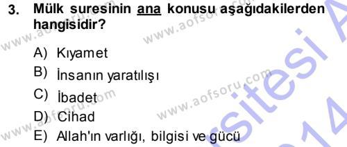 İlahiyat Bölümü 3. Yarıyıl Tefsir Dersi 2014 Yılı Güz Dönemi Dönem Sonu Sınavı 3. Soru