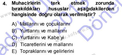 İlahiyat Bölümü 3. Yarıyıl Tefsir Dersi 2014 Yılı Güz Dönemi Dönem Sonu Sınavı 4. Soru