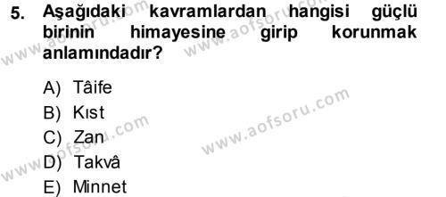İlahiyat Bölümü 3. Yarıyıl Tefsir Dersi 2014 Yılı Güz Dönemi Dönem Sonu Sınavı 5. Soru