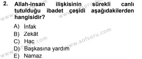 Tefsir Dersi 2013 - 2014 Yılı Tek Ders Sınavı 2. Soru
