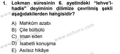 Tefsir Dersi 2014 - 2015 Yılı Dönem Sonu Sınavı 1. Soru