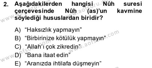 Tefsir Dersi 2014 - 2015 Yılı Dönem Sonu Sınavı 2. Soru