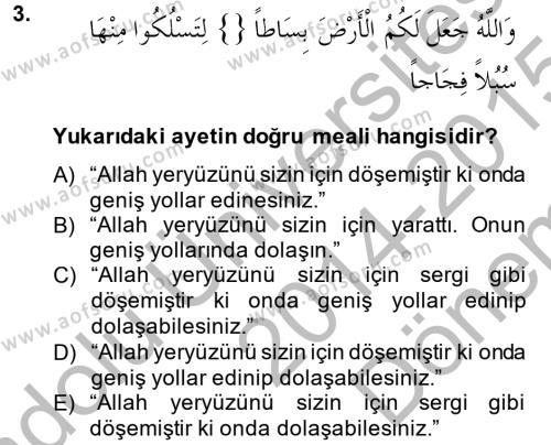İlahiyat Bölümü 3. Yarıyıl Tefsir Dersi 2015 Yılı Güz Dönemi Dönem Sonu Sınavı 3. Soru