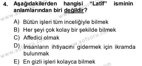 Tefsir Dersi 2014 - 2015 Yılı Dönem Sonu Sınavı 4. Soru