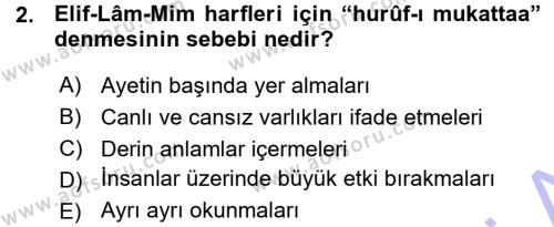 İlahiyat Bölümü 3. Yarıyıl Tefsir Dersi 2016 Yılı Güz Dönemi Ara Sınavı 2. Soru